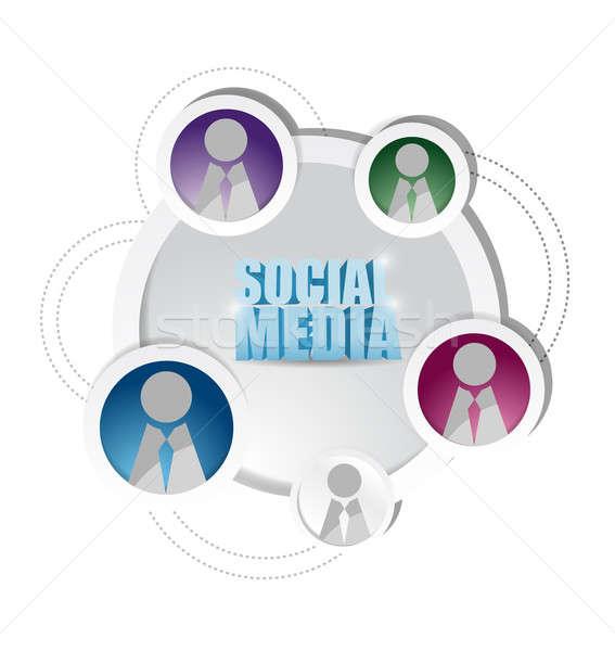social media network diagram friends cycle. Stock photo © alexmillos