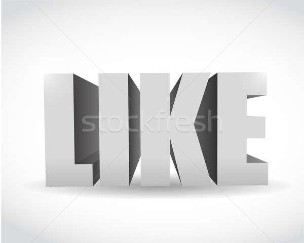3d social media like text illustration design Stock photo © alexmillos