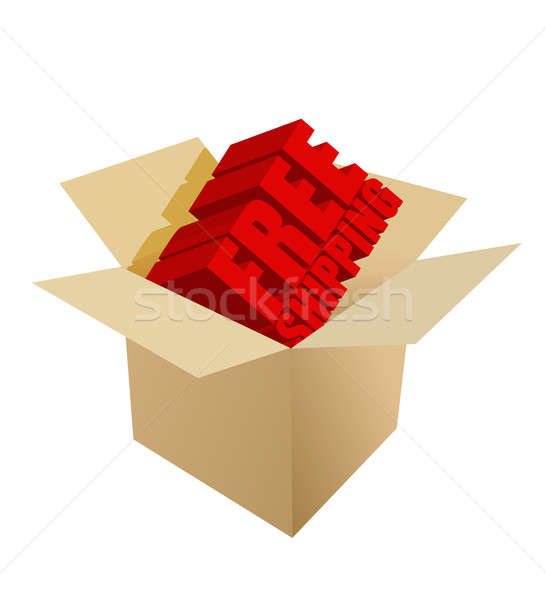 free shipping Carton Box on white background Stock photo © alexmillos