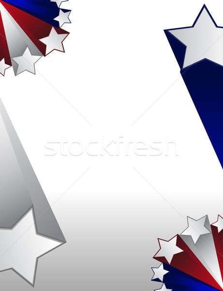 Red white and blue stars boarder over a gradient background. Stock photo © alexmillos