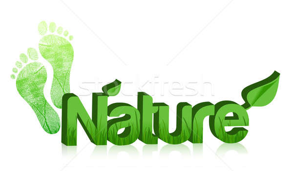3d nature text and feet illustration design on white Stock photo © alexmillos