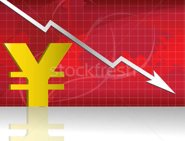 Yen Exchange. Business worries with Yen losing graph. Stock photo © alexmillos