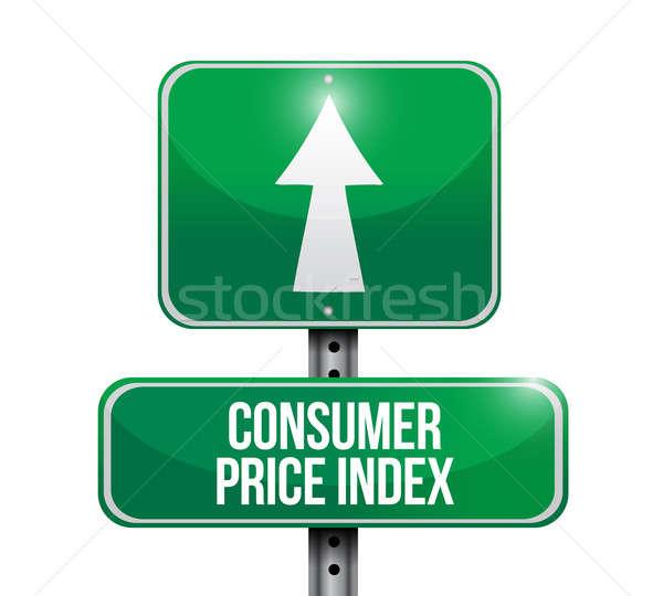 Konsument cena znak drogowy ilustracja projektu biały Zdjęcia stock © alexmillos