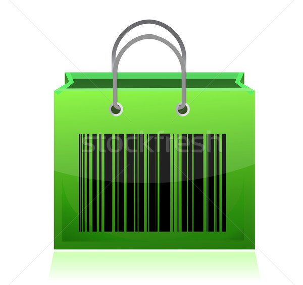 Bag with barcode illustration design over white Stock photo © alexmillos