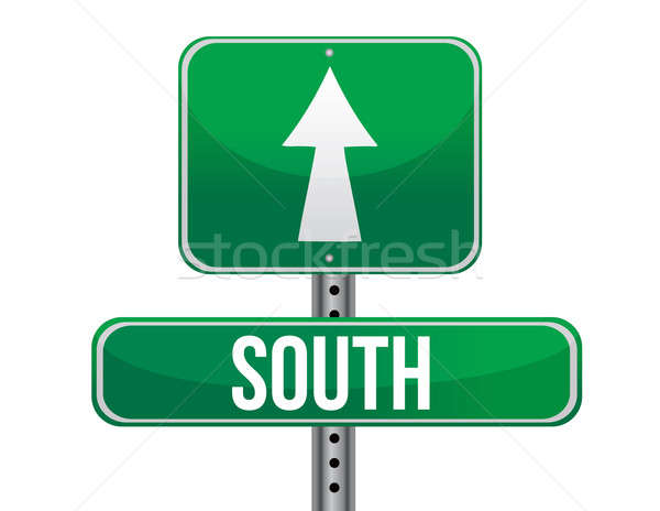 road sign to the south geographical direction illustration desig Stock photo © alexmillos