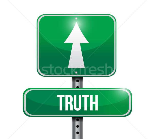 Verdade placa sinalizadora ilustração projeto branco estrada Foto stock © alexmillos