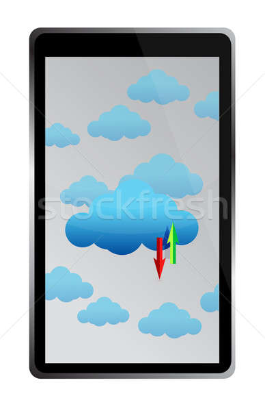 tablet cloud computing files being transfer illustration design Stock photo © alexmillos