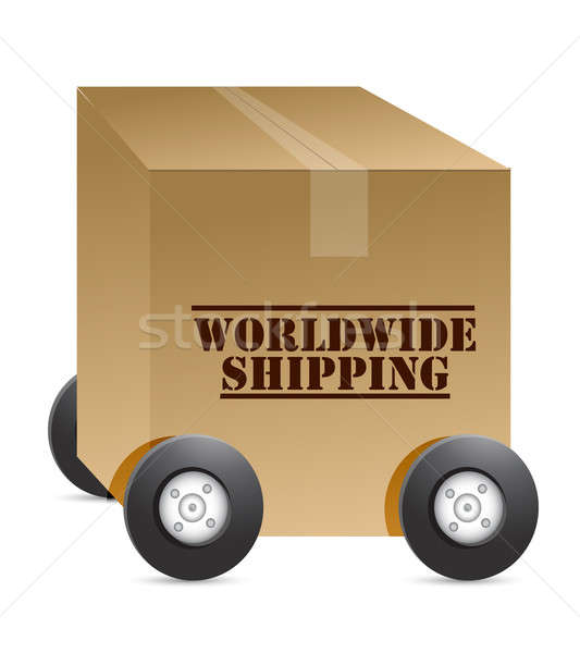 worldwide shipping web shop illustration design over white Stock photo © alexmillos