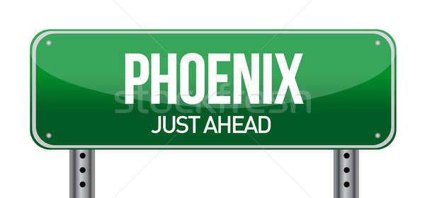 Phoenix verkeersbord illustratie ontwerp witte weg Stockfoto © alexmillos