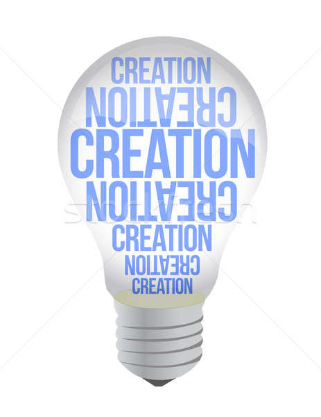 Light Bulb With Creation Text illustration design over white Stock photo © alexmillos