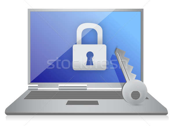 Lock computer and key illustration design over white Stock photo © alexmillos