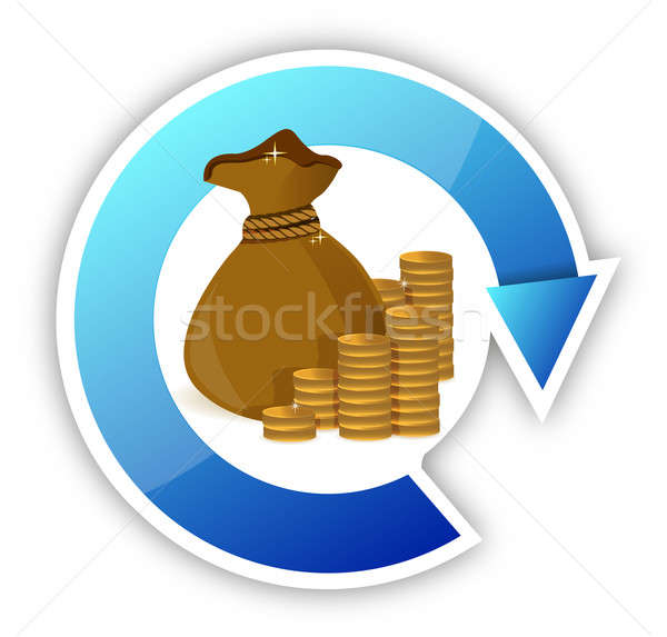 cycle Stacks of coins and money bag illustration design Stock photo © alexmillos