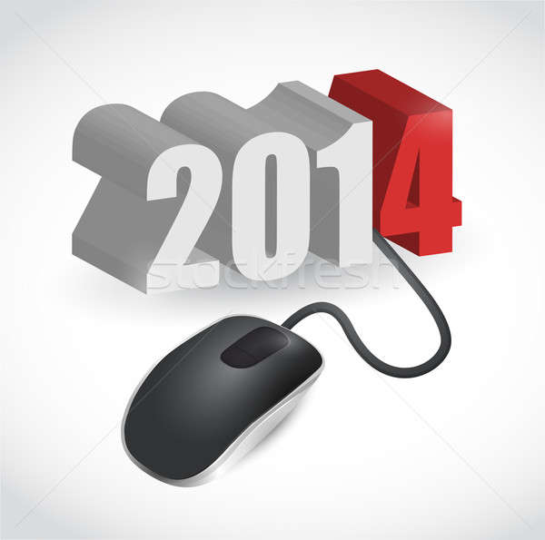 2014 sign connected to mouse illustration design over white Stock photo © alexmillos