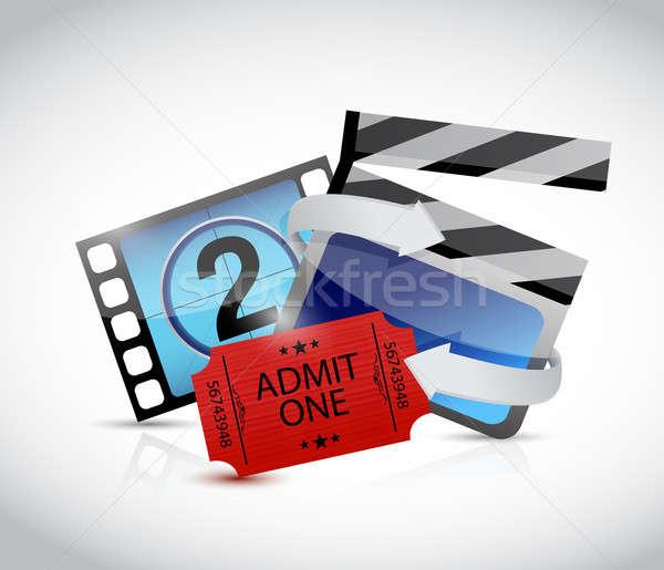 movie concept and ticket illustration design over white Stock photo © alexmillos