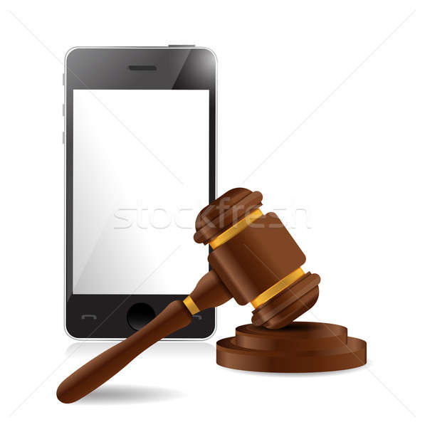 phone and law hammer illustration design over a white background Stock photo © alexmillos