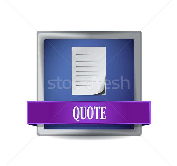 quote glossy blue button illustration design over white Stock photo © alexmillos