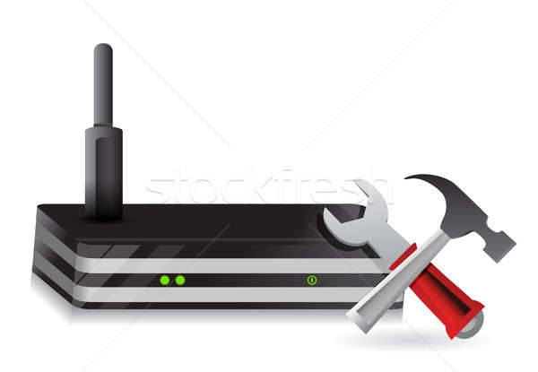 Wireless Router and tools illustration design over a white backg Stock photo © alexmillos