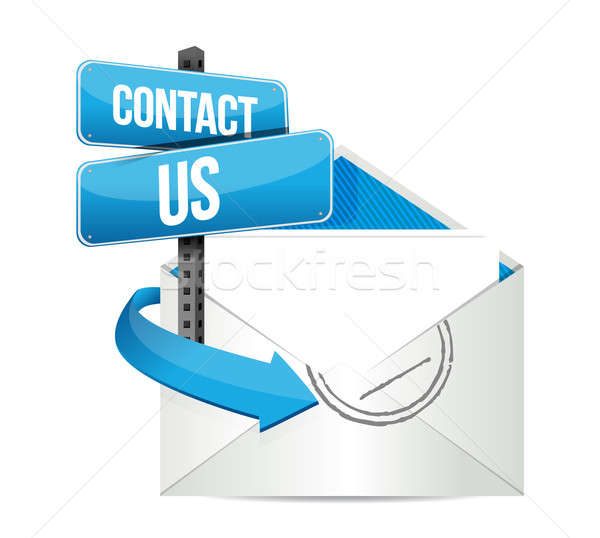 contact us email sign illustration design over white Stock photo © alexmillos