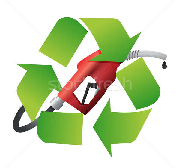 recycle symbol with a gas pump nozzle illustration design over a Stock photo © alexmillos