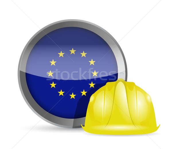 European flag and construction helmet  Stock photo © alexmillos
