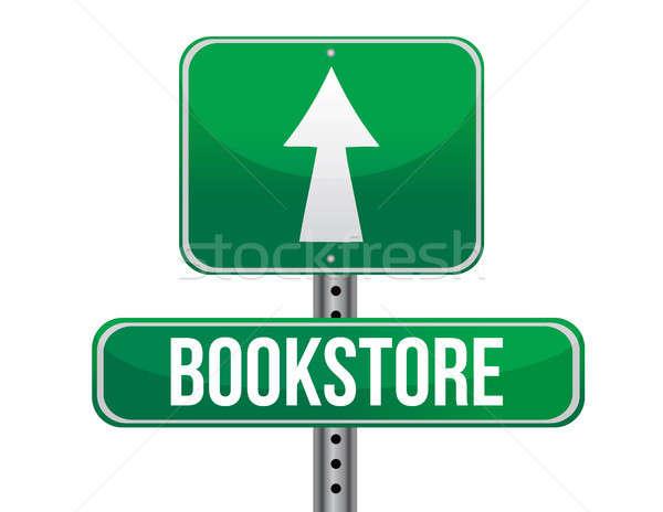 Librería senalización de la carretera ilustración diseno blanco metal Foto stock © alexmillos