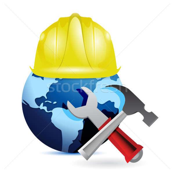 construction concept around the globe. Stock photo © alexmillos