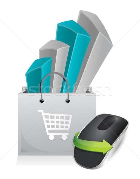 Compras on-line sem fio mouse de computador isolado branco Foto stock © alexmillos