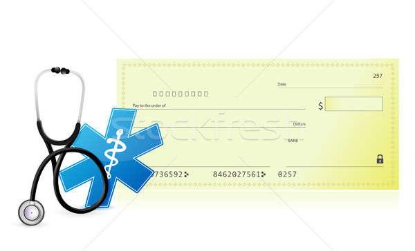 Foto stock: Médico · despesas · ilustração · projeto · branco · coração