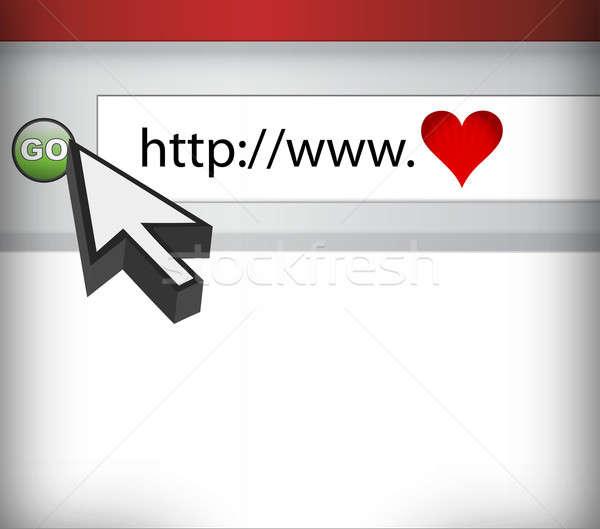 Tela do computador amor ciberespaço ilustração computador internet Foto stock © alexmillos