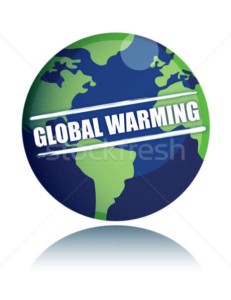 global warming globe with sign illustration Stock photo © alexmillos