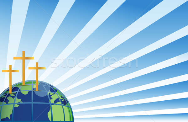 Holy crosses in top of the earth illustration isolated over whit Stock photo © alexmillos