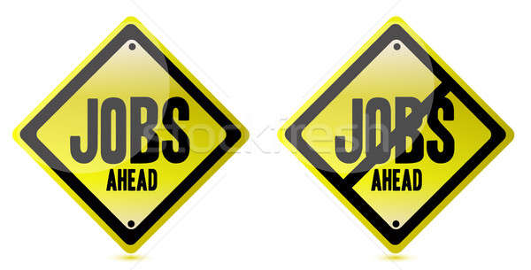 Jobs ahead Street sign over a white background Stock photo © alexmillos