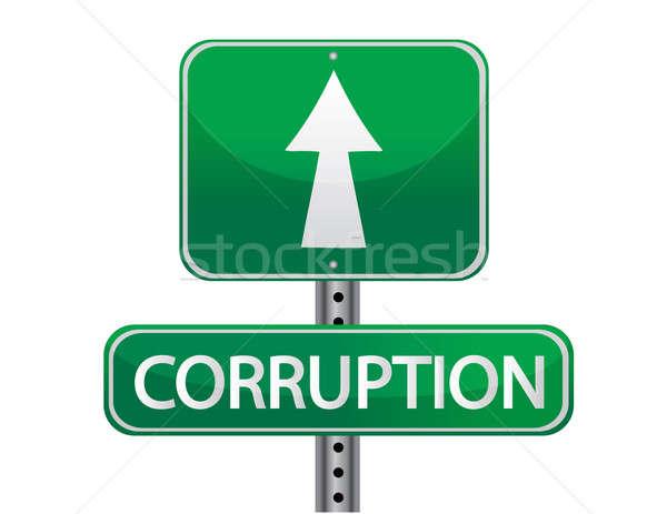 Korrupció fém felirat utazás nyíl bűnözés Stock fotó © alexmillos