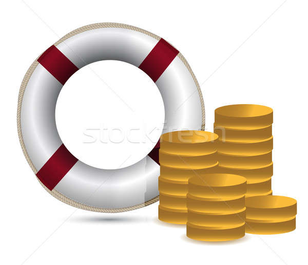 coins and lifesaver illustration design over white Stock photo © alexmillos