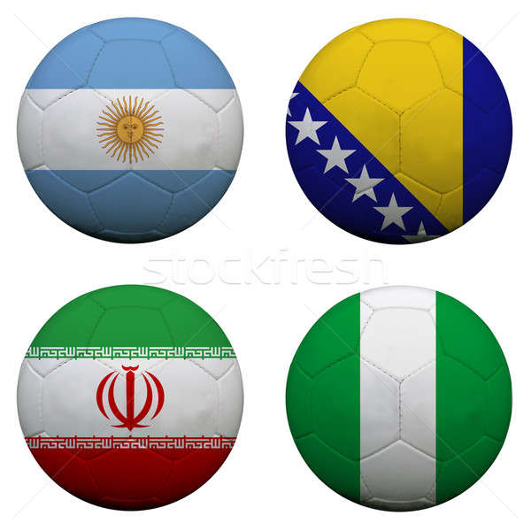 Stock photo: soccer balls with group F teams flags, Football Brazil 2014. iso