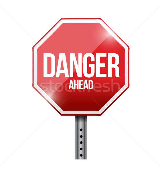 опасность впереди дорожный знак иллюстрация дизайна белый Сток-фото © alexmillos