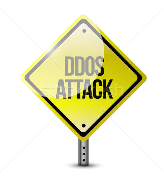 ddos attack road sign illustration design over a white backgroun Stock photo © alexmillos