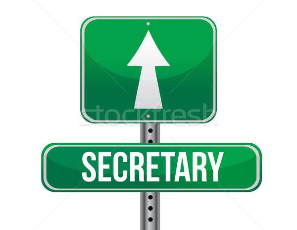 secretary road sign illustration design over a white background Stock photo © alexmillos