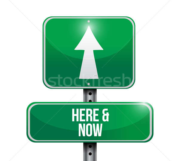 here and now road sign illustration design over a white backgrou Stock photo © alexmillos