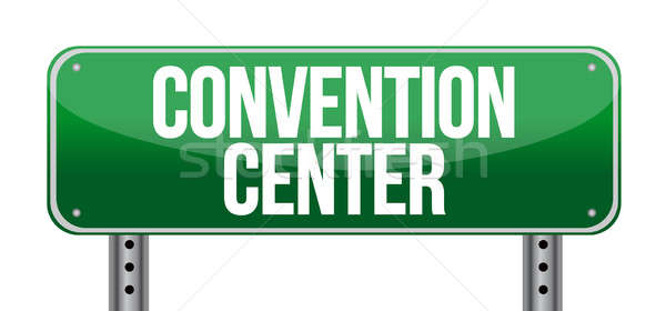 convention center road sign illustration design over a white bac Stock photo © alexmillos