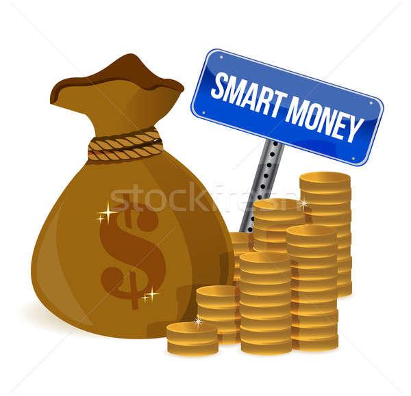 smart money bag and coins illustration design over a white backg Stock photo © alexmillos