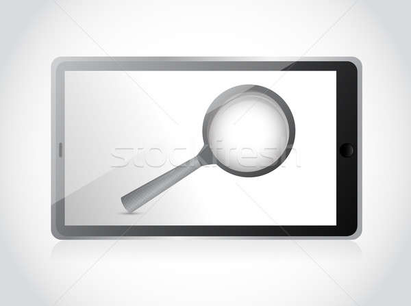 tablet search concept illustration design over a white backgroun Stock photo © alexmillos