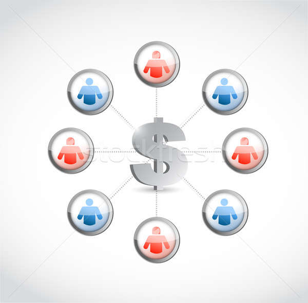 dollar currency. social network illustration design over white Stock photo © alexmillos