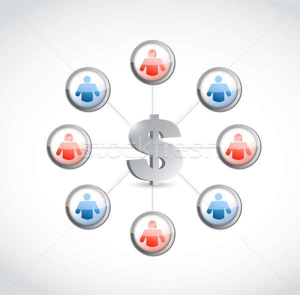 Dollaro valuta social network illustrazione design bianco Foto d'archivio © alexmillos