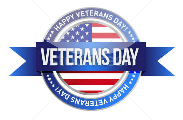 veterans day. us seal and banner illustration design Stock photo © alexmillos