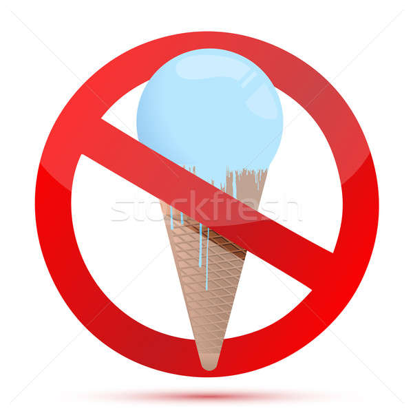 Red glass forbidden sign with ice cream. illustration design Stock photo © alexmillos