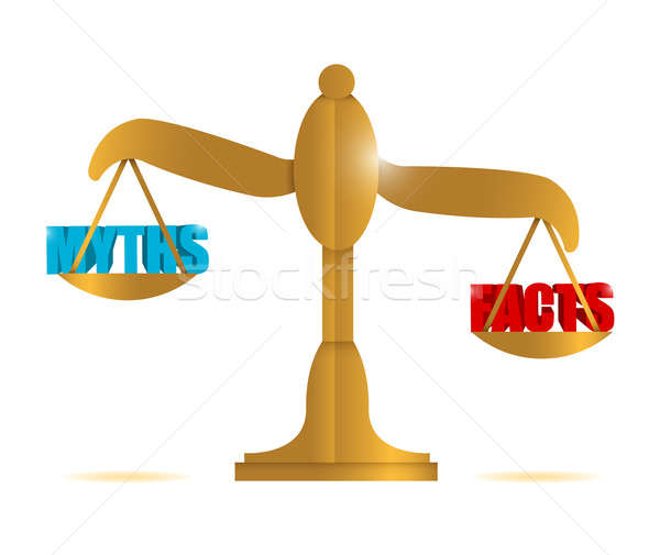 myths and facts balance illustration design over a white backgro Stock photo © alexmillos