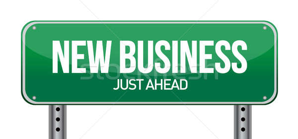 new business sign illustration design over white Stock photo © alexmillos