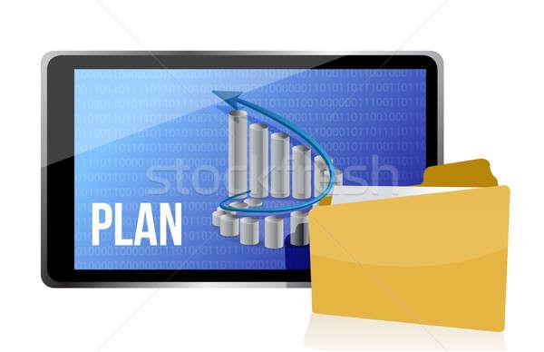Marketing business plan illustration design over white Stock photo © alexmillos