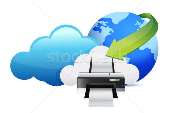 printer cloud computing concept illustration design over white Stock photo © alexmillos